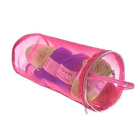 SODIAL DIY Arte Nylon Hilado Caso Organizador Almacenamiento cestas Accesorios para Hacer Punto Hilo Redondo Bolsas Viajando Coser Herramientas Costura Purpura L