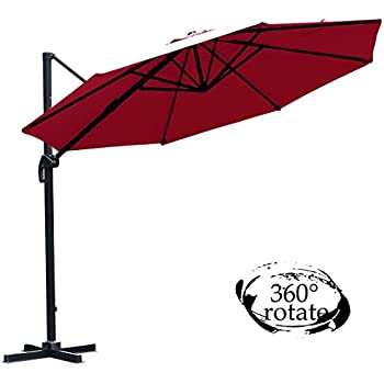 FarLand 11 Ft Patio Umbrella Luxury 360° Rotate Offset Cantilever Outdoor Market Hanging Umbrellas & Cranks, 8 Ribs (11 Ft, Red)