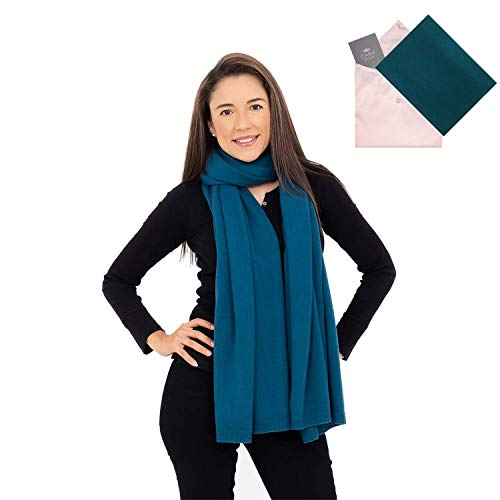 100% Cashmere Wrap Shawl Scarf for Women - Pure Luxury Knit - Lightweight, Ultra Soft and Warm includes Beautiful Silk Gift Bag (Sea -