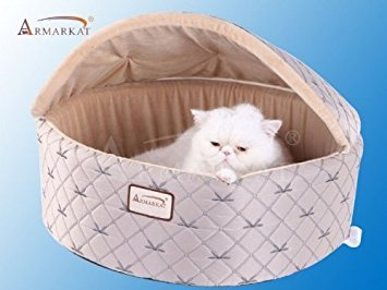 - Armarkat Cat Bed, Medium, Pale Silver and Beige