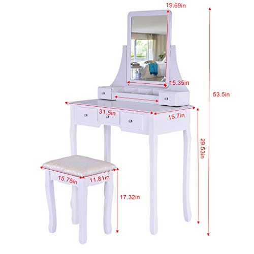 Sonmer Vanity Set with Mirror, Cushioned Stool, Storage Shelves, Drawers Dividers ,3 Style Optional, Shipped from US - Two Day Shipping (#1, White) by Sonmer (Image #7)