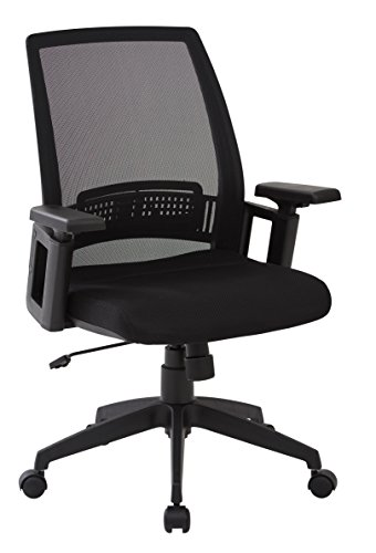 Back Screen Chair Task (Office Star Screen Back and Padded Mesh Seat Office Chair with Adjustable Arms, Black)