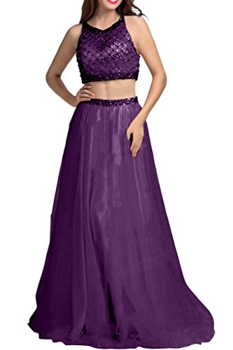 Prinzess La mia Linie teilig Braut Abiballkleider Abendkleider Dunkel Steine Lila A Tuell Lang Ballkleider Zwei Abschlussballkleider Rock Orange A1RAWwgdPq