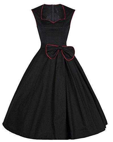 Padgene Vestidos para Mujer Vintage Elegantes Sin Manga Mujer Noche Fiesta negro