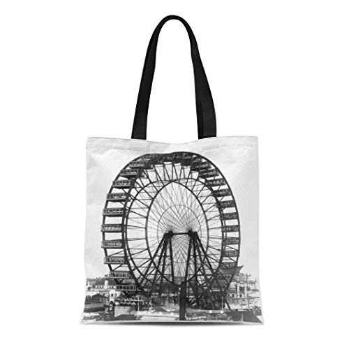 (Semtomn Cotton Line Canvas Tote Bag Retro Vintage Ferris Wheel at Chicago World Fair Reusable Handbag Shoulder Grocery Shopping Bags)
