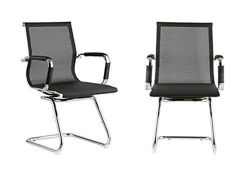 Mesh Back with Pewter Finish Guest Chair by Attraction Design