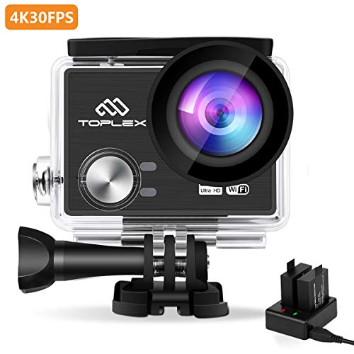 TOPLEX Action Camera T101 4K 30FPS Panasonic Sensor WiFi Ultra HD Waterproof 30M with 170°Ultra Wide Angle, Dual 1200mAh Upgraded Batteries, Dual Battery Charger