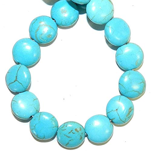 Bead Jewelry Making Blue Turquoise 10mm Flat Round Coin Magnesite Gemstone Beads 15