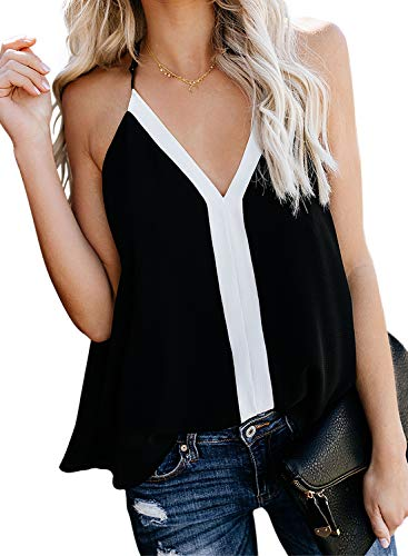 AlvaQ Womens Tanks Casual Spring Fashion Ladies V Neck Camisole Color Block Summer Vest Sleeveless Tops Blouse Shirts Black Small