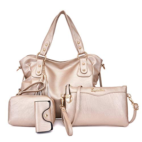 (Soperwillton Handbags for Women Fashion Shoulder Bag Top-handle Satchel Tote Bags Purse Set 4pcs)