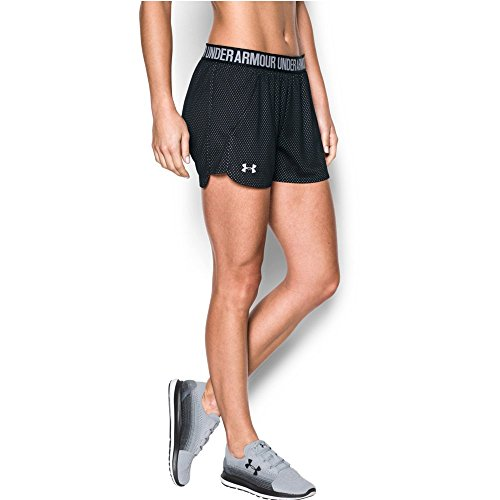 Under Armour Women's Play Up Short 2.0 - Mesh, Black/White, Large