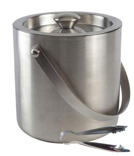 (Samudratanaya Exports Brushed Stainless Steel Double-Walled Ice Bucket with Lid, Compact Heavy-Duty Metal Ice Bucket with Handle and Ice Tong and Chilling Wine and Liquor Bottles)