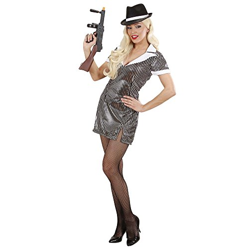Mob Italian Costume (Ladies Gangster Girl Costume Large Uk 14-16 For 20s 30s Mob Capone Bugsy)