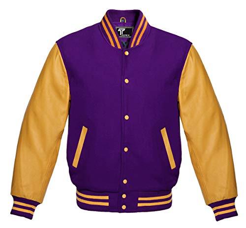Premium Letterman Baseball School College Bomber Varsity Jacket Purple & Gold Genuine Leather Sleeves (Purple/Gold, XLarge)