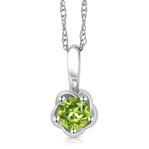 10K White Gold Green Peridot Pendant Necklace, 0.18 Ctw Round Cut Gemstone Birthstone (Peridot Pendant Cut Round)