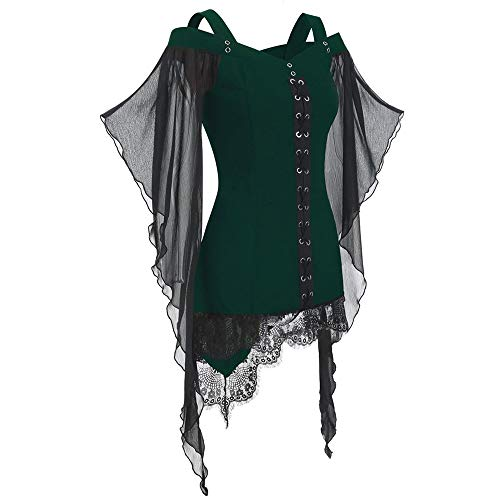 LOKODO Women Gothic Criss Cross Lace Insert Butterfly Sleeve T-Shirt Plus Size Tops Witch Costume Halloween Cosplay Costumes Green M