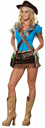 Dreamgirl Women's Cowgirl Costume, Blue/Brown, Large (Sexy Cowgirl Lingerie)
