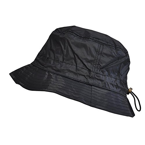 Toutacoo, Waterproof Bucket Rain Hat in Nylon .Black