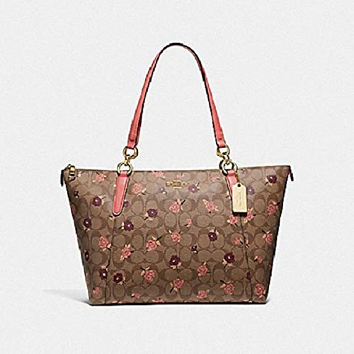 Coach AVA Tote in Signature Canvas with Tossed Peony Print, F66880 Pink Multi