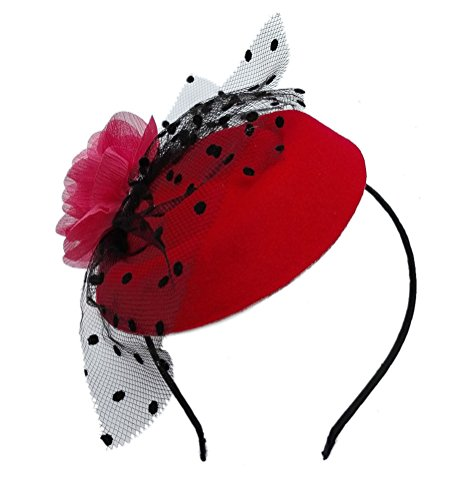 [Fascinator Hair Clip Head Hoop Veil Wool Flower Hat Derby Cocktail Party Wedding Purple Red] (Film And Tv Costume Design)
