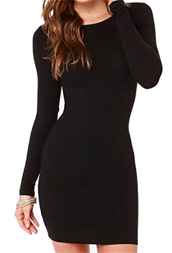 Women Round Mini Bodycon Sleeve Color Black Dress Domple Solid Neck Long 4dqBBwR