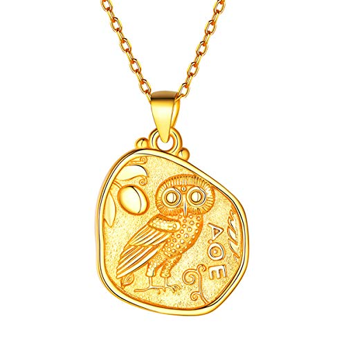 FOCALOOK Athena and her Owl,Mark of Athena,Greek Coins,Greek Mythology Gold Plated Sterling Silver Coin Pendant Necklace