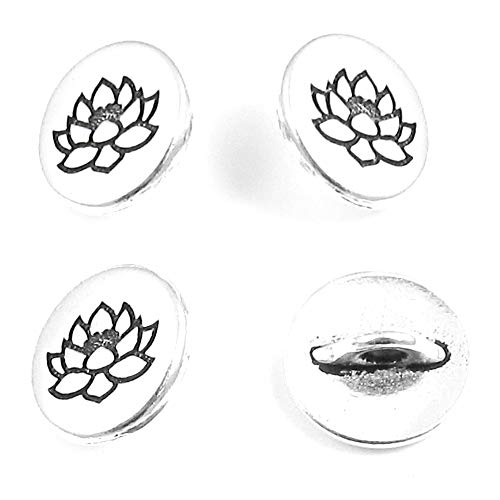 Buttons Flower Metal (TierraCast Pewter Buttons-Fine Silver Plated Small Lotus Flower 12mm (4))