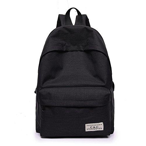 Les femmes imperméabilisent le sac à dos plissé de nylon sac à bandoulière portatif d'épaule de larme léger sac à dos multicolore léger Black