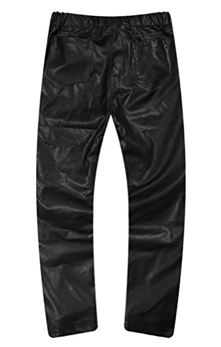 Pizoff Unisex Solid Black Red Leather Casual Pants With Elastic Waist Y0355-30