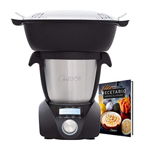 IKOHS CHEFBOT Compact STEAMPRO – Robot de Cocina Multifunción, Cocina al Vapor, 23 Funciones, 10 Velocidades con Turbo, Bol Acero Inoxidable 2,3 L, Libre BPA (con Vaporera y Recetario – Negro)