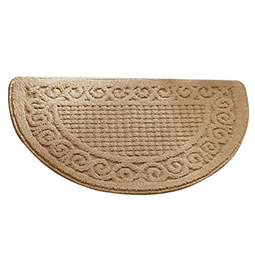 Loghot Polypropylene Half Round Pure Color Doormat Non Slip Semicircle Door Mat for Bedroom Toilet Kitchen Entryway (Large, Camel)