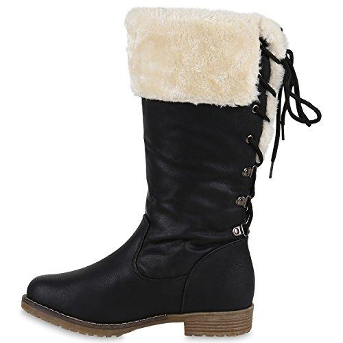 Stiefelparadies Warm Gefütterte Stiefel Damen Winterstiefel Wildleder-Optik Boots Schnallen Profilsohle Winter Schuhe Flandell Schwarz Bexhill