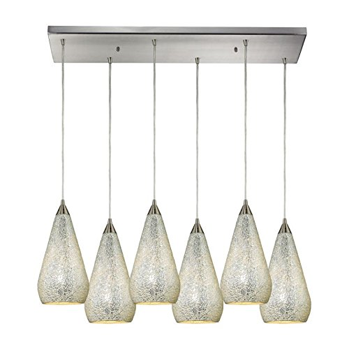 Elk 546-6RC-SLV-CRC Curvalo 6-Light Pendant with Silver Crackle Glass Shade, 30 by 9-Inch, Satin Nickel (Crackle 1 Light Mini Pendant)