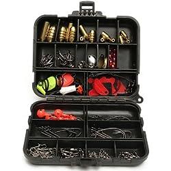 128pcs Fishing Lures Hooks Baits Black Tackle Box Full Storage Case Tool Set by Aroundstore