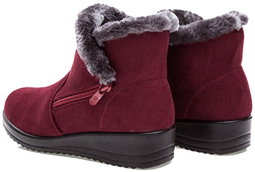 LabatoStyle Womens Mini Winter Fur Lined Warm Snow Boot Red ZfTrHwu