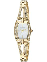 Armitron Womens 75/5502MPGP Swarovski Crystal Accented Gold-Tone Open Bangle Watch