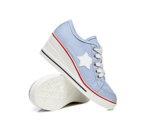 cm Cordones Las Lona Cuñas Aire de 6 De La Mujer Mauea Zapatos Cuna Tacon Deportivo Calzado De de Azul Al Libre Cerrado Lona Zapatos Deporte Tfvxxq7