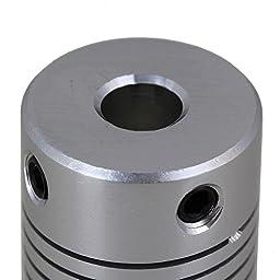 CNBTR 2pcs 6.35mm to 10mm Silver CNC Stepper Motor Shaft Coupling Coupler for Encoder