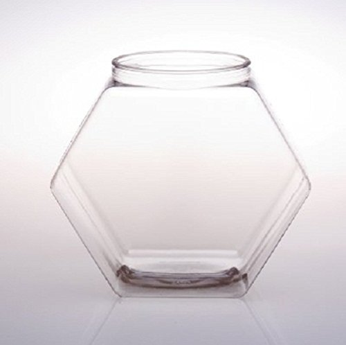 FixtureDisplays 129oz PVC Hexagons Jar - 12pk 106127!