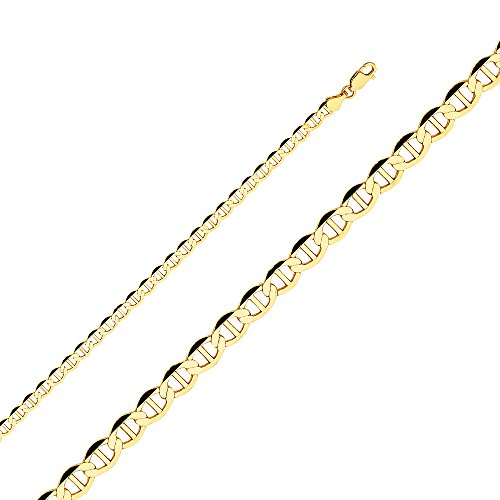 Wellingsale 14k Yellow Gold SOLID 4mm Polished Flat Mariner Chain Bracelet - 8.5'' by Wellingsale® (Image #5)