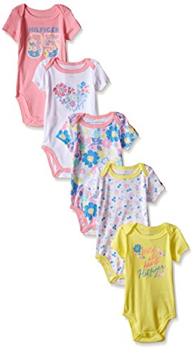 Tommy Hilfiger Baby Girls' Print and Solid Bodysuits, Pink/Yellow, 0-3 Months (Pack of 5)