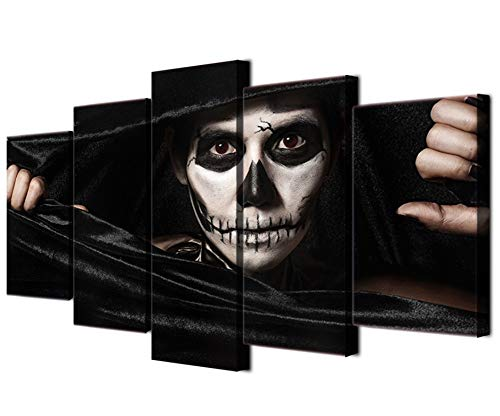 JOLOMOY Wall Art Painting 5 Panels Canvas Prints, Oil Painting Printed on Canvas - Halloween Dark Terror Clown Giclee Canvas Paintings Artwork Pictures Posters for Home Decor Unframed (Small)
