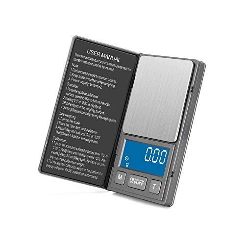 Gram Scale Digital Pocket Scale, 0.01g 200g High Precision, Ultra Slim Weed Scale with Stainless Steel & Large LED Perfect for Measuring Food, Weed, Jewelry, Gold, Coins(Battery Include)