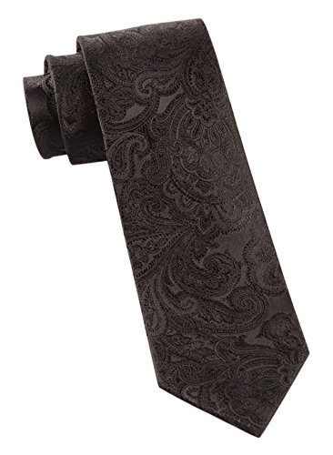 The Tie Bar 100% Woven Silk Black on Black Designer Paisley 2 1/2 Inch Skinny Tie