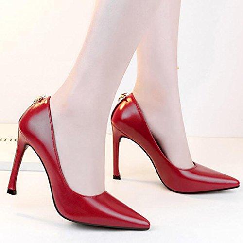 Clubbing snfgoij Nacht Geschlossene Schuhe Sexy Arbeiten Heel Zehe High Schuhe Metall Womens Stiletto Fashion Club Pumps Tipp Court rqOwrvg