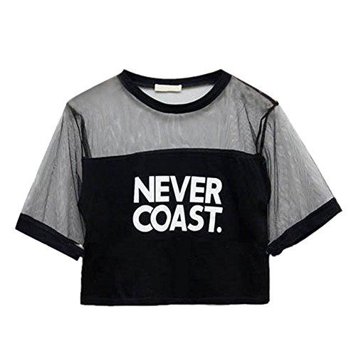 EFINNY Women Sexy Sheerness Crop Blouse Cool Crew Neck Short Sleeve T-Shirt Tops