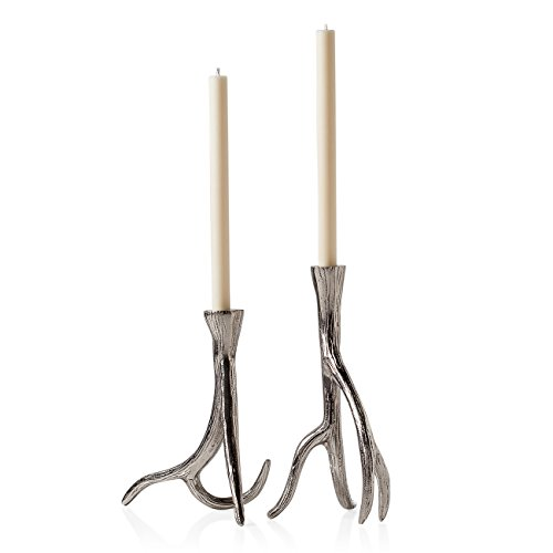 Torre & Tagus Antler Aluminum Taper Candle Holders
