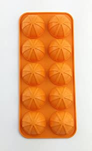 Save Now! BONISON Non-stick Non-slippery Hot & Cold Use Soft Silicone Small Lemons - Clementines - Cuties - Mandarines Shaped Ice Mold Tray (1 Mold 10 Cavity Tray , Random Color)- 10 Pack