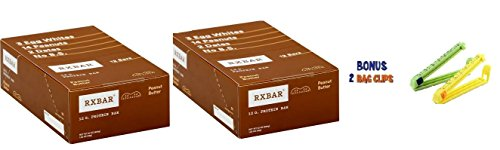 RxBar Real Food Peanut Butter Protein Bar, 1.83 Ounce (Pack of 24) Plus 2 Food Storage Bag Clips Free!