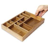 Organizador de cajones de cocina Juvale con divisores removibles - Organizador de cubiertos - Organizador de gabinetes para utensilios y cubiertos - Cajón de uso general, bambú, 14 x 10 x 2 pulgadas